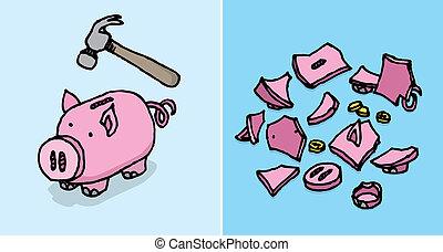 Piggy bank destroyed / Economic depression Savings