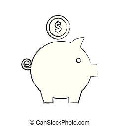 piggy bank dollar coin money cash