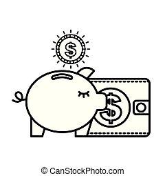 piggy bank dollar coins wallet business