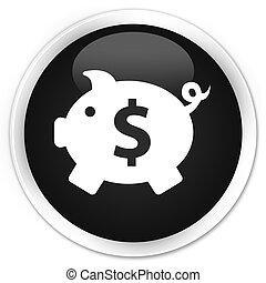 Piggy bank (dollar sign) icon black glossy round button