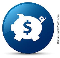 Piggy bank dollar sign icon blue round button