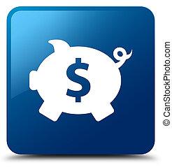 Piggy bank dollar sign icon blue square button
