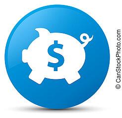 Piggy bank dollar sign icon cyan blue round button