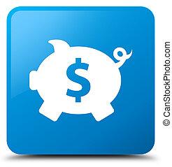 Piggy bank dollar sign icon cyan blue square button