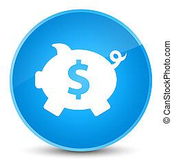 Piggy bank dollar sign icon elegant cyan blue round button