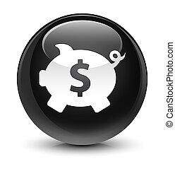 Piggy bank dollar sign icon glassy black round button