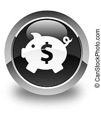 Piggy bank (dollar sign) icon glossy black round button