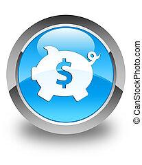 Piggy bank dollar sign icon glossy cyan blue round button