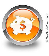 Piggy bank (dollar sign) icon glossy orange round button