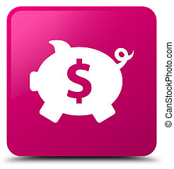 Piggy bank dollar sign icon pink square button