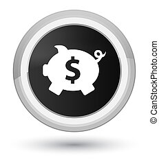 Piggy bank dollar sign icon prime black round button