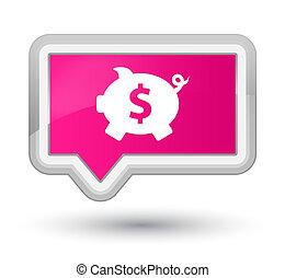 Piggy bank dollar sign icon prime pink banner button