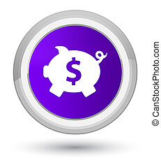 Piggy bank dollar sign icon prime purple round button