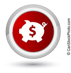Piggy bank dollar sign icon prime red round button
