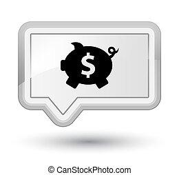 Piggy bank dollar sign icon prime white banner button
