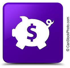 Piggy bank dollar sign icon purple square button
