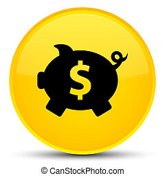 Piggy bank dollar sign icon special yellow round button