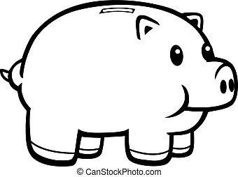 Piggy Bank - A cartoon illustration of a pink piggy bank.