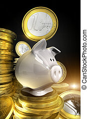 Piggy bank - Golden shiny euro coins with piggy bank