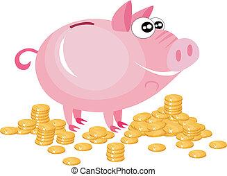piggy bank - vector illustration of a piggy bank