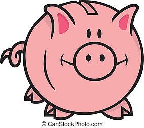 Piggy bank - Smiling pink piggy bank cartoon illustration on...