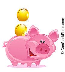 Piggy Bank - Cute Piggy Bank With Gold Coins