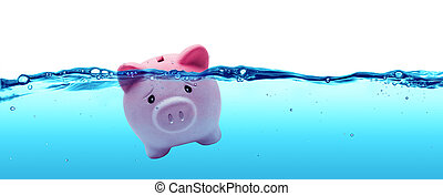 Piggy bank drowning in debt - savings to risk