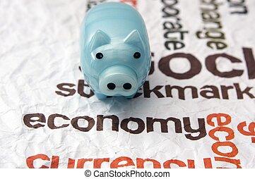 Piggy bank economy concept