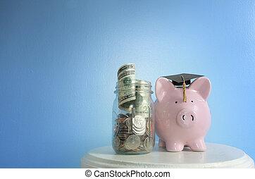 Piggy bank education costs