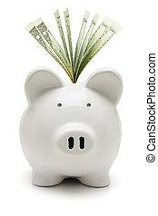 piggy bank , en, ons dollars