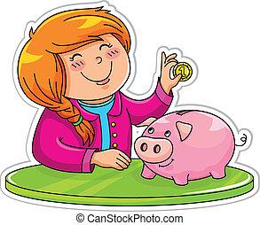 piggy bank - little girl putting a coin in her piggy bank