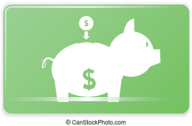 piggy bank - Piggy bank on Green Rectangular Graphic vector...