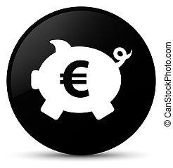 Piggy bank euro sign icon black round button