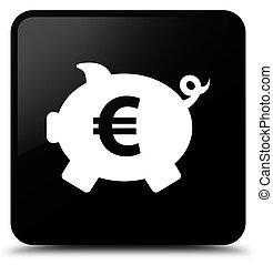 Piggy bank euro sign icon black square button