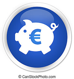 Piggy bank (euro sign) icon blue glossy round button