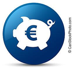 Piggy bank euro sign icon blue round button