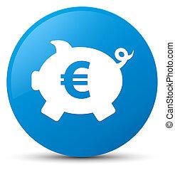 Piggy bank euro sign icon cyan blue round button