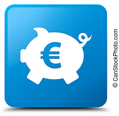 Piggy bank euro sign icon cyan blue square button