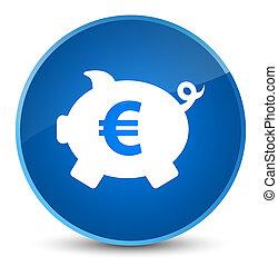 Piggy bank euro sign icon elegant blue round button