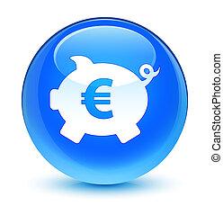 Piggy bank euro sign icon glassy cyan blue round button