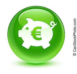Piggy bank euro sign icon glassy green round button