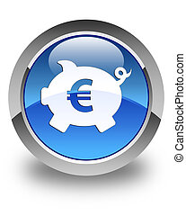 Piggy bank euro sign icon glossy blue round button