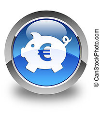 Piggy bank (euro sign) icon glossy blue round button