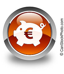 Piggy bank (euro sign) icon glossy brown round button