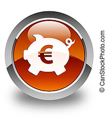 Piggy bank euro sign icon glossy brown round button