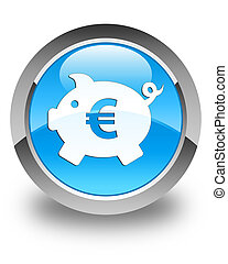 Piggy bank (euro sign) icon glossy cyan blue round button