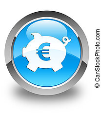 Piggy bank euro sign icon glossy cyan blue round button