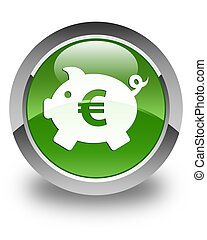 Piggy bank (euro sign) icon glossy soft green round button
