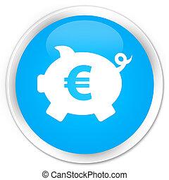 Piggy bank euro sign icon premium cyan blue round button