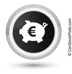 Piggy bank euro sign icon prime black round button